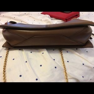 Celine Bags - Celine natural calfskin tri-fold clutch on chain